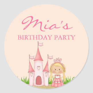 Pink Princess Birthday Sticker