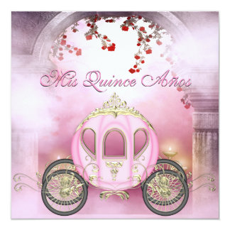 Pink Princess Carriage Enchanted Quinceanera Card