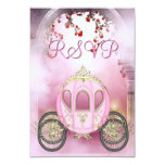 Pink Princess Carriage Enchanted RSVP Personalized Announcement
