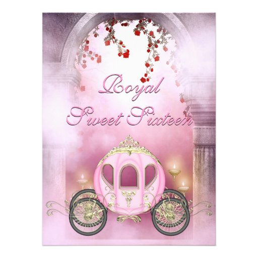 Pink Princess Carriage Enchanted Sweet 16 Personalized Announcement