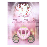 Pink Princess Carriage Enchanted Sweet 16 6.5x8.75 Paper Invitation Card