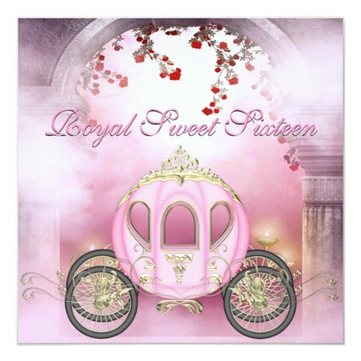Pink Princess Carriage Enchanted Sweet 16 5.25x5.25 Square Paper Invitation Card