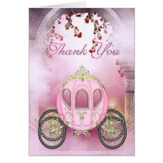 Pink Princess Carriage Enchanted Thank You Stationery Note Card
