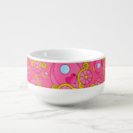 Pink princess carriage pattern soup bowl with handle