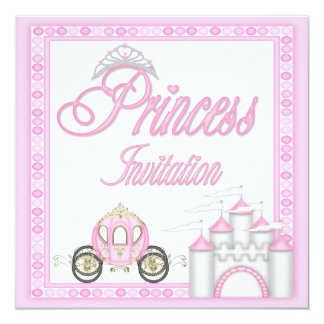 Pink Princess Coach and Castle Birthday Party Card