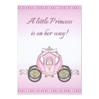 Pink Princess Coach Girls Baby Shower 5x7 Paper Invitation Card