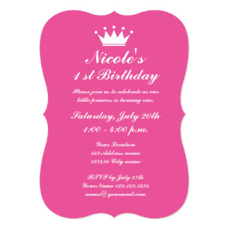 Pink princess crown 1st Birthday party invitations