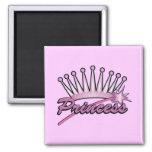 Pink Princess Crown 2 Inch Square Magnet