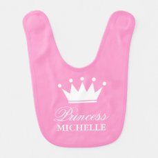 Pink princess crown baby bib for little baby girl
