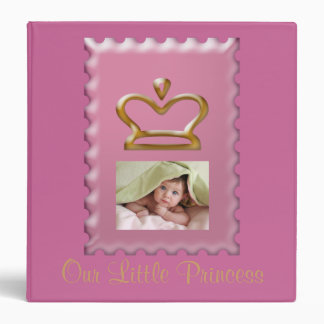 Pink Princess Crown Baby Girl Photo Album 3 Ring Binder