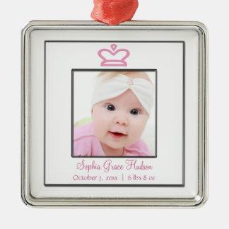 Pink Princess Crown Baby Girl Photo Ornament