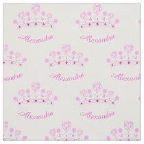 Pink Princess Crown Custom Name Fabric