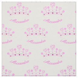 Pink Princess Crown Custom Name Fabric