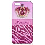 Pink Princess Crown Glitter Zebra Print Case For iPhone 5C