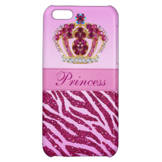 Pink Princess Crown Glitter Zebra Print Case For iPhone 5C