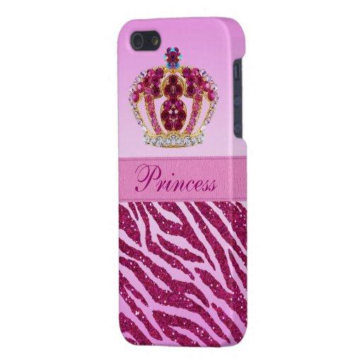 Pink Princess Crown Glitter Zebra Print iPhone SE/5/5s Case