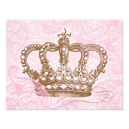"Pink Princess Crown Invitations 4.25"" X 5.5"" Invitation ..."