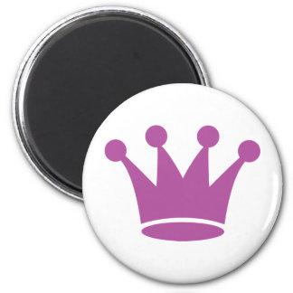 pink princess crown 2 inch round magnet