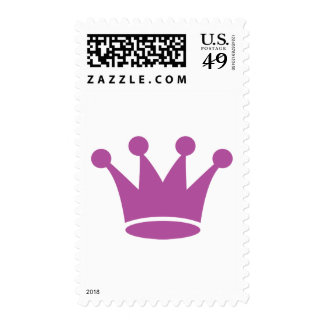 pink princess crown postage stamp