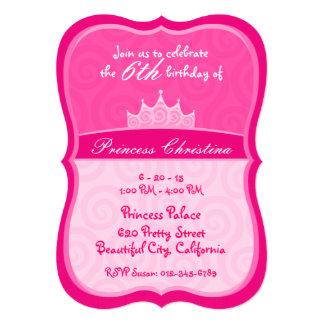 Pink Princess Crown Spirals Birthday 5x7 Paper Invitation Card