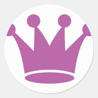 pink princess crown round sticker