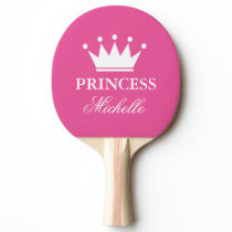 Pink princess crown table tennis ping pong paddle