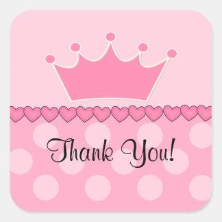 Pink Princess Crown Thank You Square Sticker