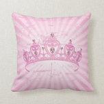 Pink Princess Crown Tiara Jewel Couch Throw Pillow