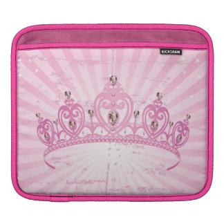 Pink Princess Crown Tiara Jeweled Girl iPad Sleeve
