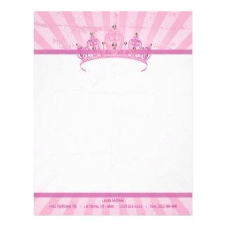 Pink Princess Crown Tiara Letterhead Stationery
