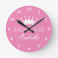 Pink Princess Crown Wall Clock For Girls Bedroom at Zazzle