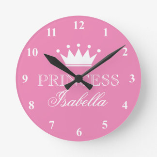 Pink princess crown wall clock for girls bedroom
