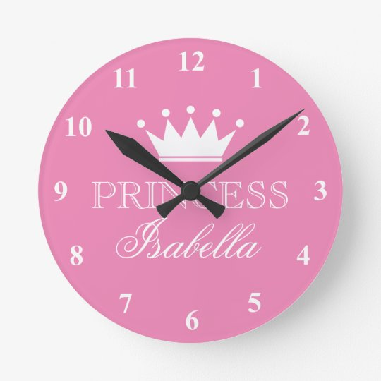 Pink Princess Crown Wall Clock For Girls Bedroom Zazzle Com