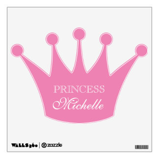 Pink princess crown wall decal for girls bedroom