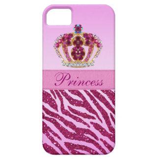 Pink Princess Crown Zebra Glitter Print iPhone 5 Case