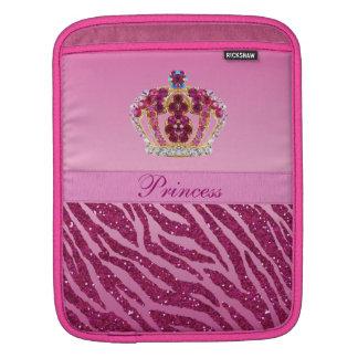 Pink Princess Crown Zebra Print iPad Sleeve