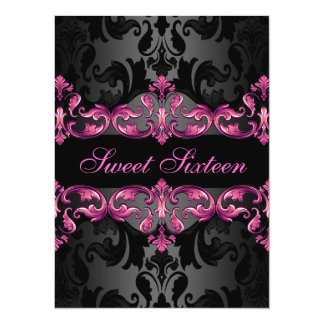 Pink Princess Damask Sweet16 Birthday Invite