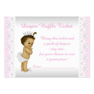 Pink Princess Diaper Raffle Ticket Business Card Template
