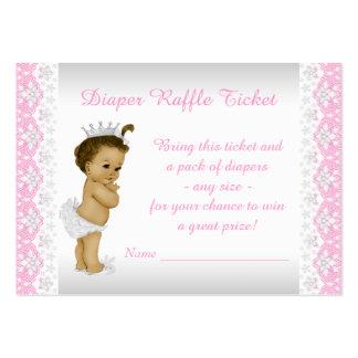 Pink Princess Diaper Raffle Ticket Large Business Card