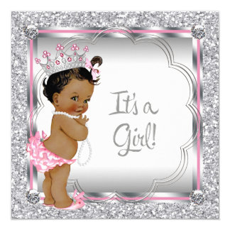 Pink Princess Ethnic African American Baby Shower 5.25x5.25 Square Paper Invitation Card