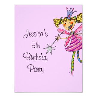pink princess fairy 5th birthday girl card