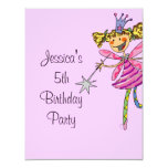 pink princess fairy 5th birthday girl personalized announcements