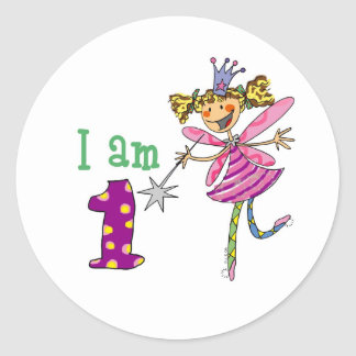 Pink princess fairy (age 1) classic round sticker