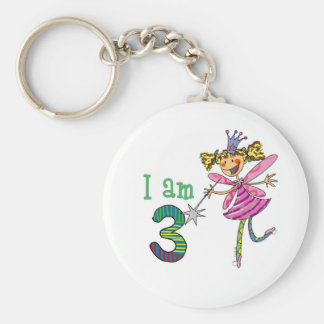 Pink princess fairy (age 3) basic round button keychain