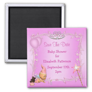 Pink Princess Fairy Baby Shower Save The Date 2 Inch Square Magnet