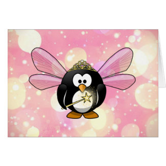 Pink Princess Fairy Penguin Card