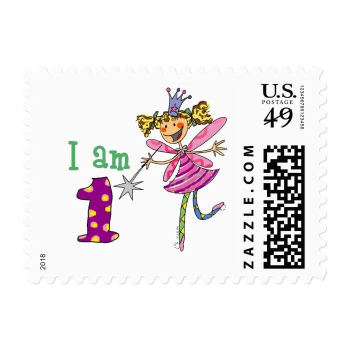 Pink princess fairy postage stamp