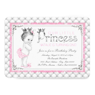 Pink Princess First Birthday Party Card