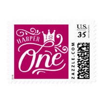 Pink Princess First Birthday Party Stamp
