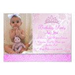 "Pink Princess Floral Birthday Invitation 5"" X 7"" Invitation Card"